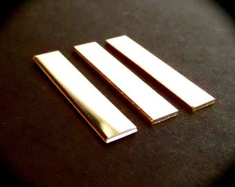 """3 BLANKS 3/8"""" x 1-1/4"""" Sterling 18 Gauge Polished Rectangles Made in USA"""