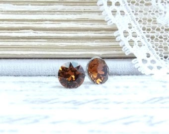Brown Crystal Studs Small Earrings Brown Stud Earrings Swarovski Studs 6mm Earrings Surgical Steel Studs
