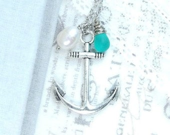 Large Anchor Necklace Anchor Pendant Necklace Nautical Jewelry Seaglass Pendant Necklace