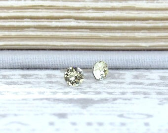 Small Yellow Studs Tiny Studs Yellow Stud Earrings Yellow Crystal Studs Solitaire Studs Surgical Steel
