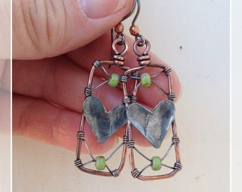 Cross My Heart Copper Wire Wrapped Earrings With Green Beads
