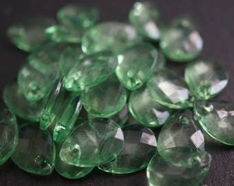 Faceted Tear Drop Spring Translucent Green Lucite Beads - 13mm x 9mm - 20 pcs