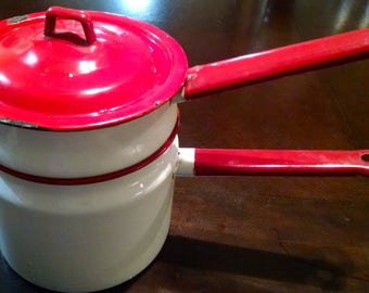 Double Boiler / White and Red Enamel / Vintage Pans / Retro Pots and Pans / Vintage Cookware /  Red Enamelware / Photo Prop