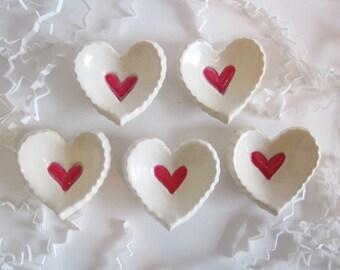 5 ceramic heart wedding  favors, bridal shower favors, handmade, ceramic heart dishes
