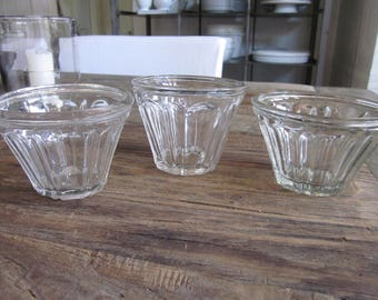 Set of three antique French glass jelly jars jam confiture