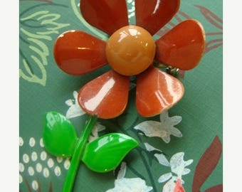 ONSALE Gorgeous Vintage Enamel Flower Brooch