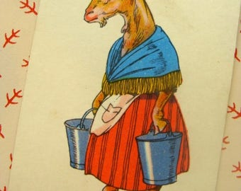 Stunning Antique 1900s Farmhouse Goat Trade Playing Watercolored Card Mixed Media
