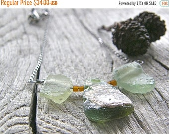 Summer Sale 20% Off Antique Roman Glass Necklace, Green Recycled Upcycled Glass Pendant Necklace