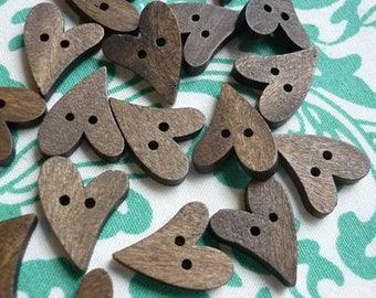10 pc Wood Heart Button 20mm-Dozen Wooden Hearts