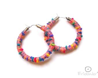 Hoop Earrings ThousandTwist Carnival Peachy by FridaWer-Circle,Textile Earrings,Fiber big colorful Earrings,Rope hoop Jewelry,gift for her