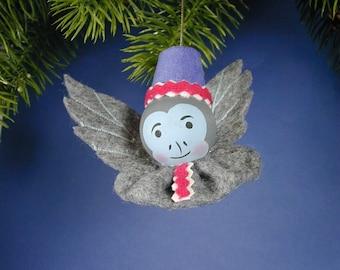 Oz Flying Monkey Ornament/ Handmade  Winged Monkey Ornament/ Blue Oz Monkey Yo-yo Ornament/Gray Felt Yo-yo Base Oz Monkey Ornament