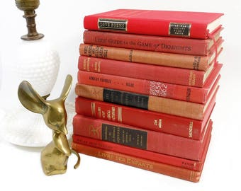 Small RED Book Stack | 10 Vintage Small Old Books | Home Staging Decor | Assorted Books | Language Poems Draughts Medical Dictionary French