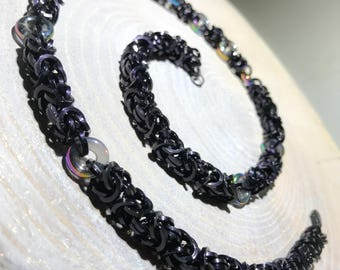 Chainmaille Byzantine Weave Necklace with Glass Rings