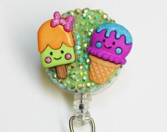 Ice Cream Buddies ID Badge Reel - Retractable ID Badge Holder - Zipperedheart