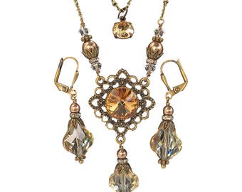Boho Vintage Neo Victorian Antique Bronze Golden Shadow 3 piece Necklace and Earring Set with Crystals from Swarovski
