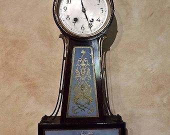 Seth Thomas Banjo Clock Reverse Painting Tall Ships 1930's