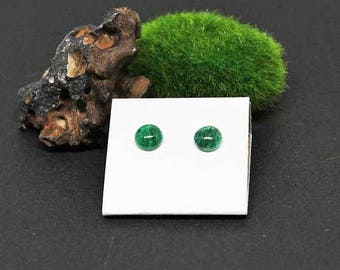 Green Aventurine Gemstone . 8mm Round Dome . Sterling Silver Posts Studs Earrings . Sparkly Emerald Green . E17107