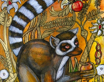 Original Ring Tailed Lemur Painting by Lynnette Shelley