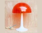 Mid Century Orange Mushroom Lamp Gilbert Softlite Vintage Dome Plastic Shade