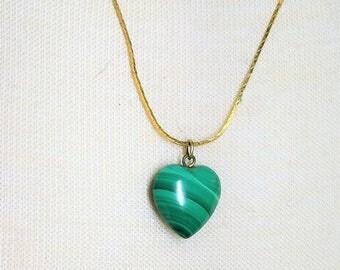 Malachite Small Heart Pendant Necklace on Gold Tone Chain Vintage