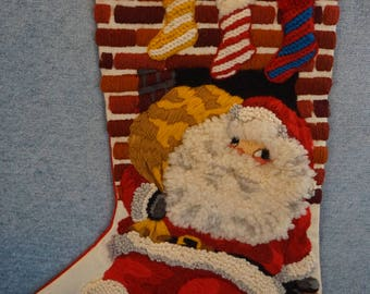 Vintage Handmade Christmas Stocking with Santa  Handmade Needlework Santa Stocking