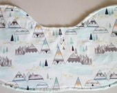Baby Burp Cloth - Teepees on Mint Green Minky, Southwest Burp Cloth Contoured Burp Cloth Baby Burpie