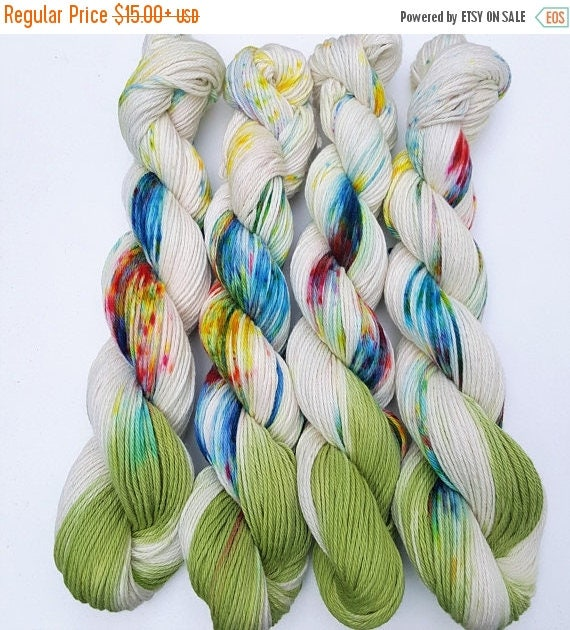 4th of July Sale Wildflowers- 100% Cotton, Hand Dyed, Speckled, Variegated, Hand  Painted Yarn