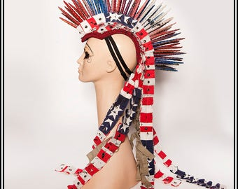 AmeriHawk… Mohawk in Red White Blue With Deconstructed Ruffles Headdress