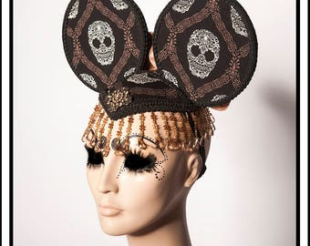 Muertos Amor... Sugar Skull Ears in Brown and Black with Brown Flowers and Decadent Beads Fascinator Headdress