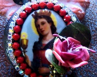 Catholic St. Barbara Cameo and Divine Mercy Pocket Statue  Religious Locket Shrine Pendant