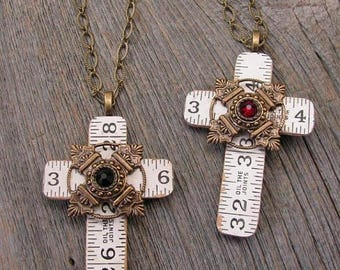 CLEARANCE SALE Cross Pendant - Ruler Jewelry - Vintage Folding Ruler Cross Pendant Long Length Necklaces - Ruby or Black Swarovski Crystals