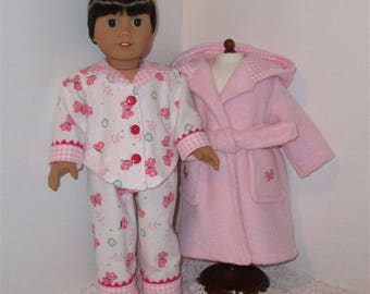"""Pink Robe and Slippers with Flannel Pajamas, Fits 18"""" Dolls // AG Pajama Set, American Girl, Slippers, AG Doll Clothes, Sleepwear, PJs"""