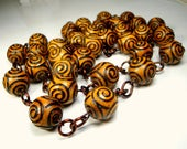 Long Wood Bead Chain Necklace, 46 Inches or 116cm, Spiral Carved Round Camel Colored Beads linked with Copper, No Catch