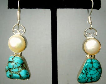 Turquoise and Pearl Earrings, Nugget Dangle Stones on Silver Wires with a Pearl on Top ,  Glam  SouthWestern Cowgirl