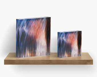 Northern Lights or ANY of My ART on Acrylic Block / Shelf, Mantel, Desk Art, Paperweight / Small Space Art / Made to Order in 2 Sizes