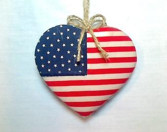 Large Primitive Americana Heart Ornament |Patriotic Decor | Party Favors | 4th of July | Red White Blue |Tree Ornament | Americana Decor |#2