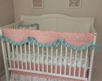 Baby Bedding Crib Set Floral Fawn in Coral Mint and White