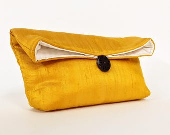 Sunshine Gold Silk Clutch, Gold Bridesmaid Gift For Her Under 15, Gold Clutch Purse, Christmas Fashion, Holiday Fashion, New Year's Eve