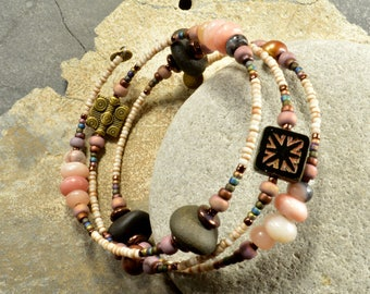 Natural pink opal and Maine black sea stone pebble wrap around adjustable funky fun eco friendly fashion bracelet sea style and natural