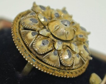 Antique Sterling Silver with Gold Gilt & Diamond Ring