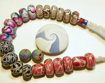 26 Polymer Clay Beads: Assorted Colors and Shapes -- Lot 3P
