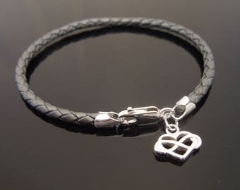 3mm Grey Braided Leather Bracelet With 925 Sterling Silver Infinity Heart Charm