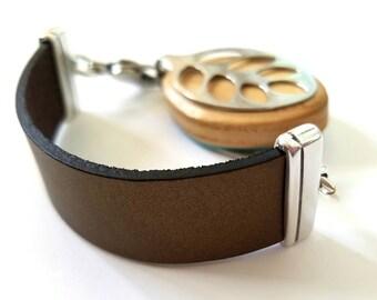 Bellabeat Leaf Bracelet Bronze bold thick leather band