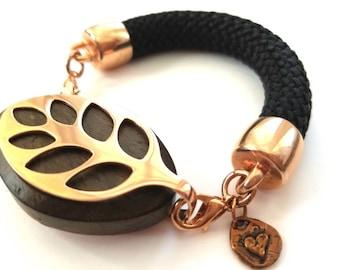 Bella Beat Leaf Bracelet Bold Soft Bangle band rose gold finish