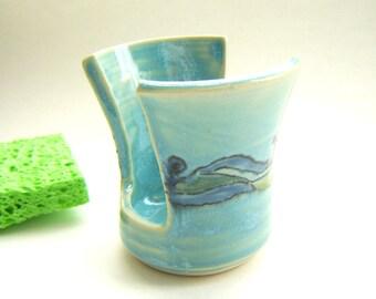 Turquoise Sponge Pot - Kitchen Décor - Ocean Colors - Handmade Pottery - Painted Ceramics