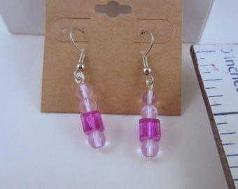 Pink Czech glass earrings