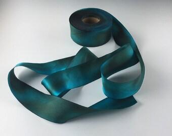 """1.5"""" HAND PAINTED  TEAL Green Silk Satin Ribbon Hanah Silks Copper Patina by the yard"""