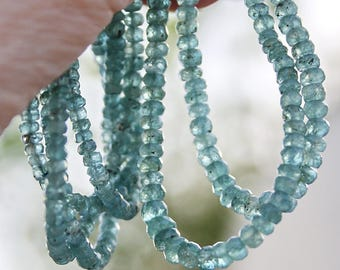 "Natural Greenish Blue Gem Watermelon Tourmaline gradual size 3.8-5mm Faceted Rondelle Beads 4"" strand"