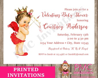 Custom Printed Vintage Antique Boy or Girl Valentine Cupid Baby Shower Invitations - You pick skin/hair color - 1.00 each with envelope