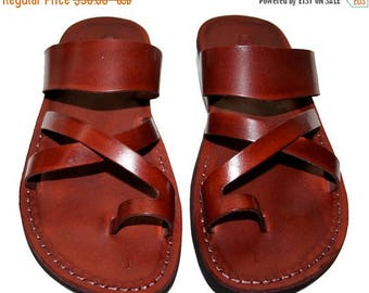 15% OFF Brown Bath Leather Sandals For Men & Women - Handmade Unisex Sandals, Flip Flop Sandals, Jesus Sandals, Genuine Leather Sandals